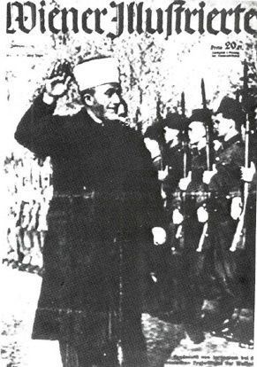 Amin Al Husseini shown here on a Nazi poster recruiting fellow Muslims to join Hitler